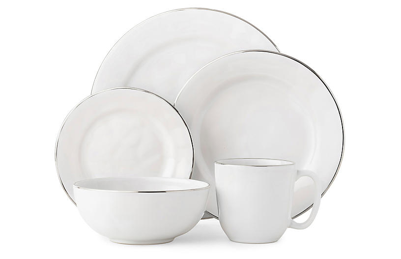 5-Pc Puro Platinum-Rim Place Setting, White