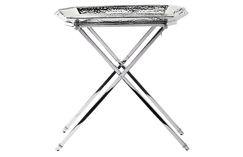 Graham Bar Tray w/Stand, Silver