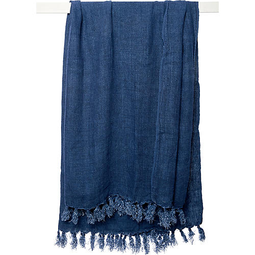 Montauk Linen Throw, Indigo