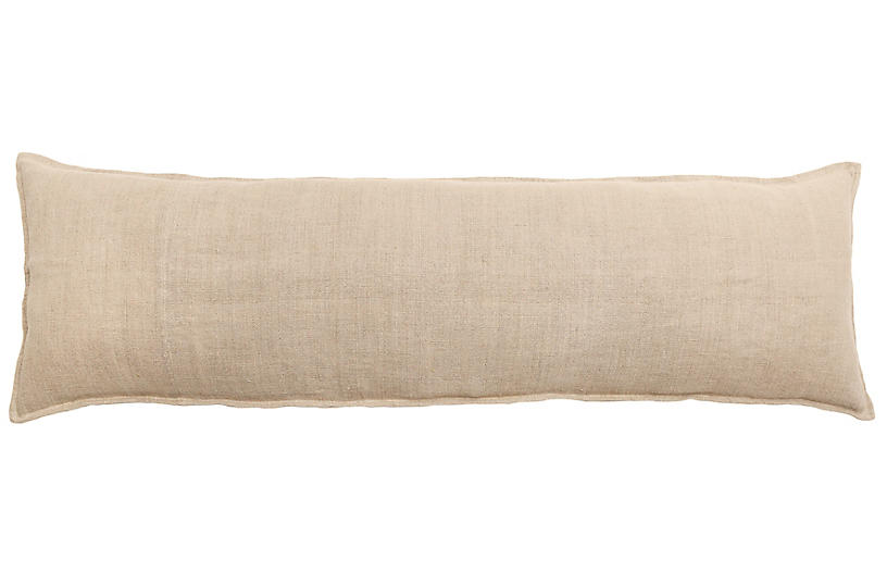 Montauk 18x60 Body Pillow, Natural Linen