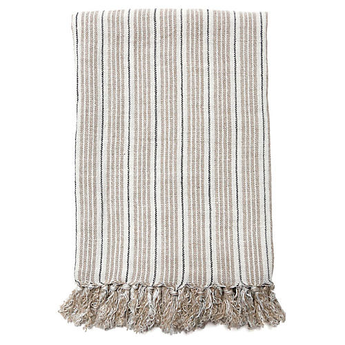 Newport Linen Blanket, Natural/Midnight