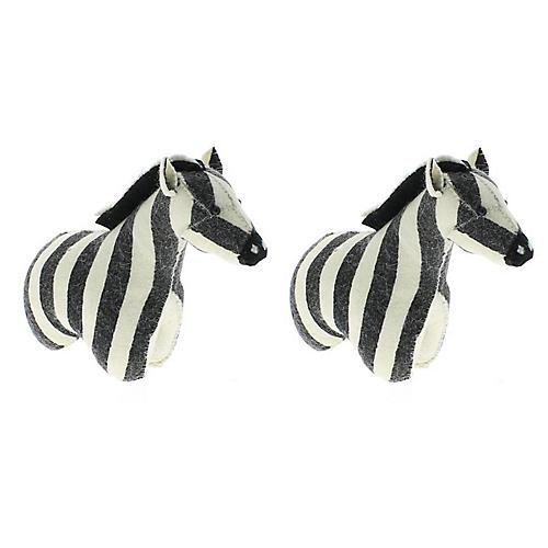 Zebra Plush Bookends, Black/White