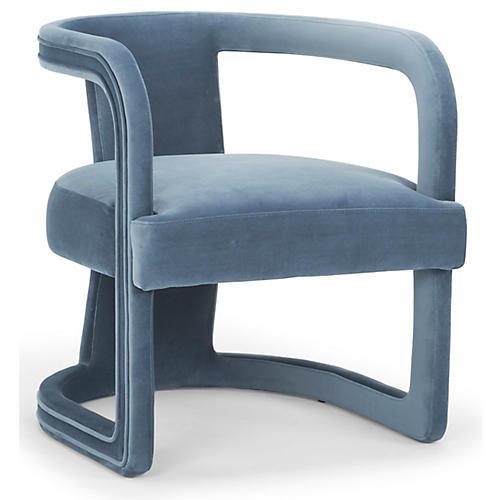 Carla Accent Chair, Steel Blue Velvet