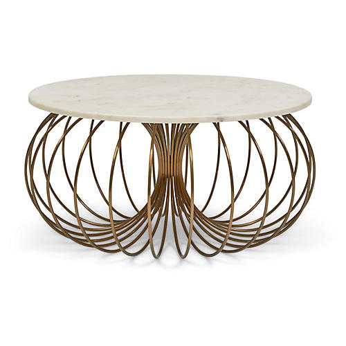 Coco Coffee Table, White/Antiqued Brass