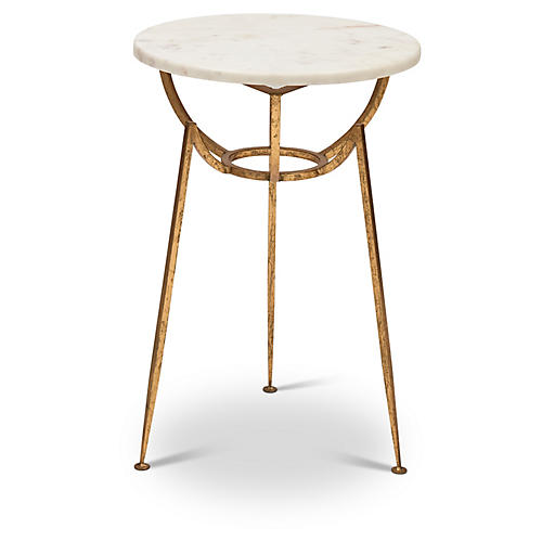 Mundi Side Table, White/Gold Leaf