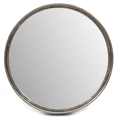 Alanis Round Wall Mirror, Antiqued Silver