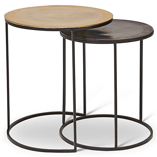 Asst. of 2 Honore Nesting Side Tables, Brass