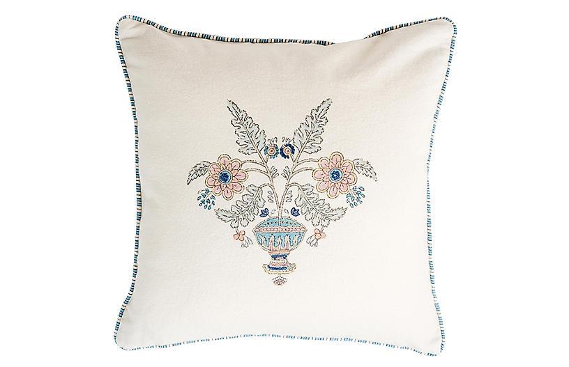 Guldasta Cotton Pillow, White/Aqua