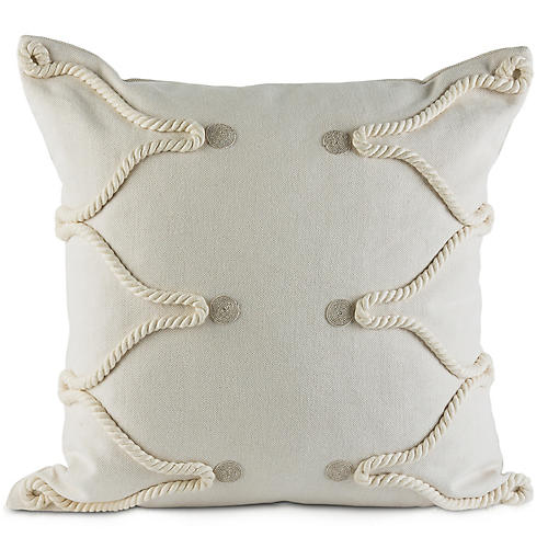 Pota 22x22 Pillow, White Linen