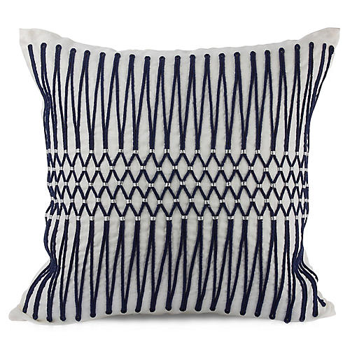 Bay Laurel 22x22 Pillow, Navy Linen