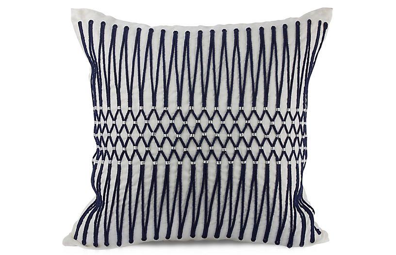 Bay Laurel 22x22 Pillow, Navy Linen