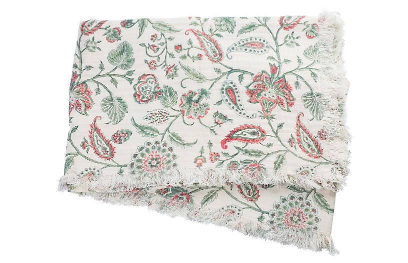 Kerr Cotton Throw, Green/Coral