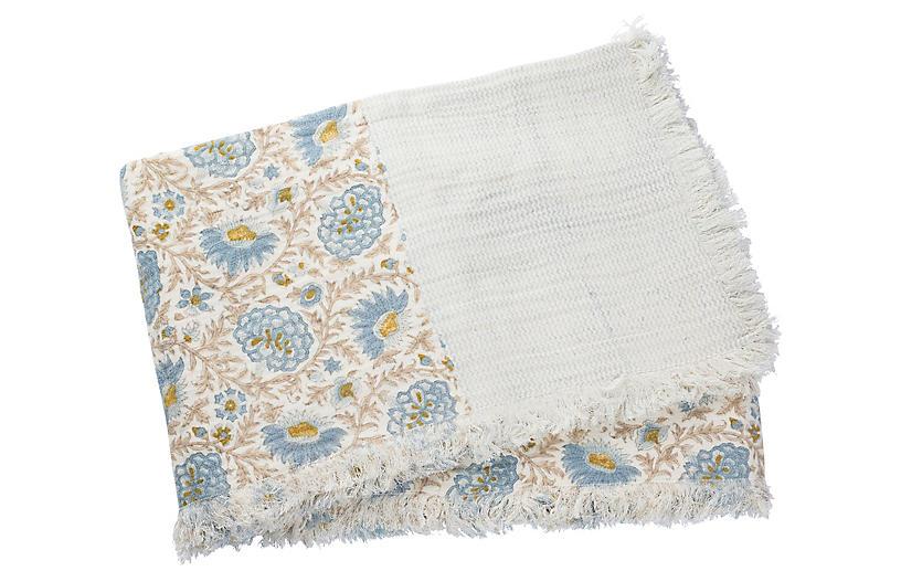 Babel Cotton Throw, Light Blue/Straw