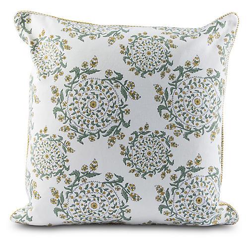 Esha 20x20 Pillow, Green/Straw