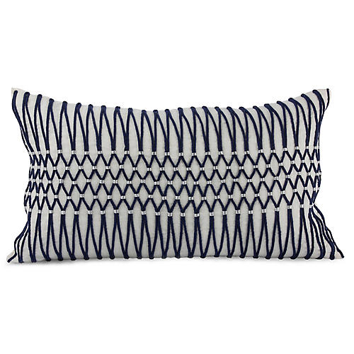 Bay Laurel 14x25 Lumbar Pillow, Navy Linen