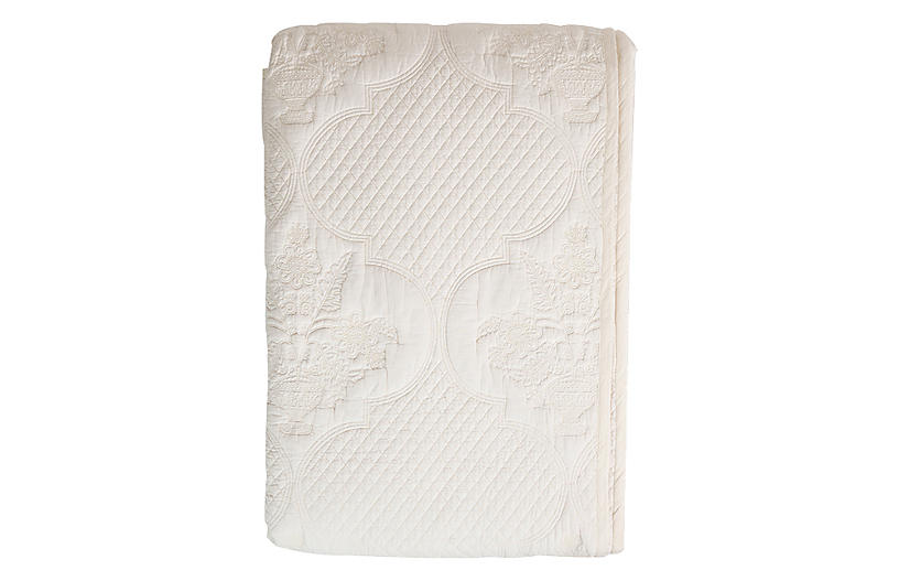 Gulnar Coverlet, Ivory