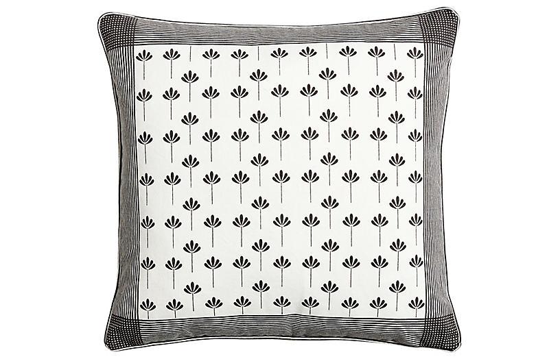 Kew Pillow, Ivory/Charcoal