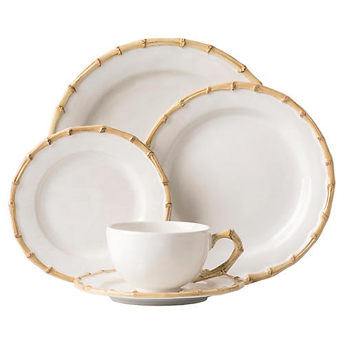 Asst. of 5 Bamboo V Place Setting, White/Natural