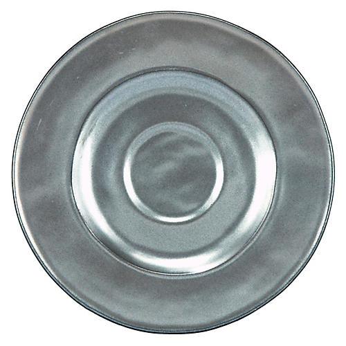 Stoneware Saucer, Pewter