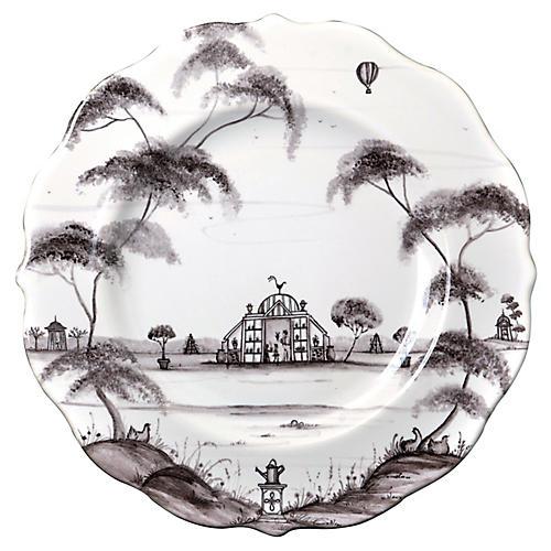 Country Estate Dessert Plate, White/Black