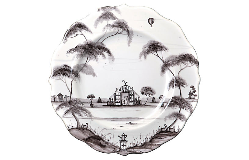 Country Estate Dessert Plate, White/Black