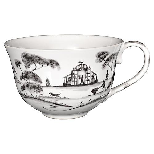 Country Estate Teacup, White/Black