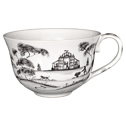 Country Estate Teacup, White/Black