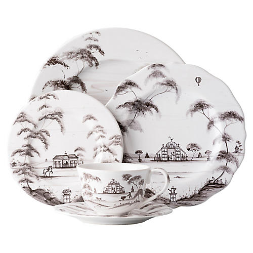 S/5 Country Estate Place Setting, White/Black