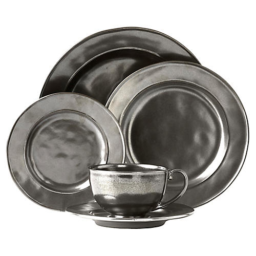 5-Pc Stoneware Place Setting, Pewter