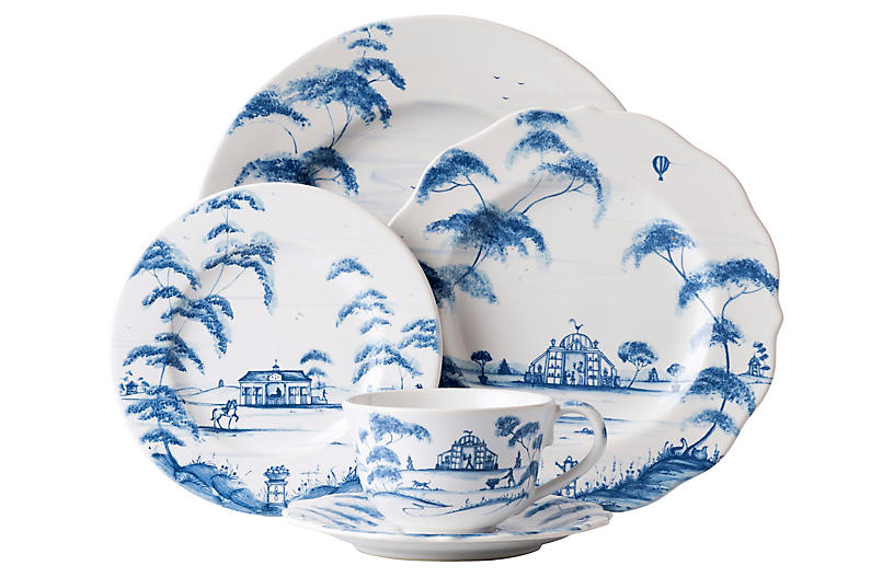 S/5 Country Estate Place Setting, Delft Blue