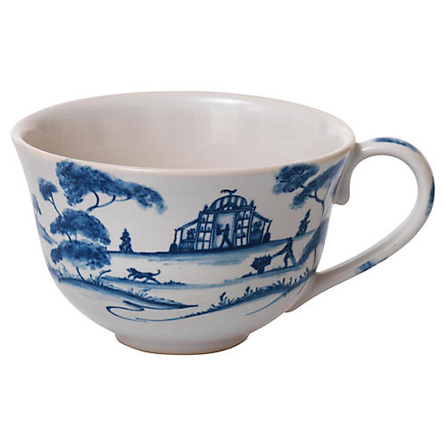Country Estate Teacup, White/Blue