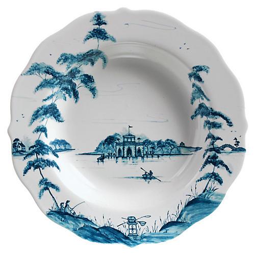 Country Estate Pasta Bowl, White/Blue