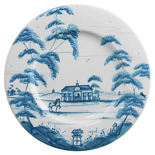 Country Estate Cocktail Plate, Delft Blue