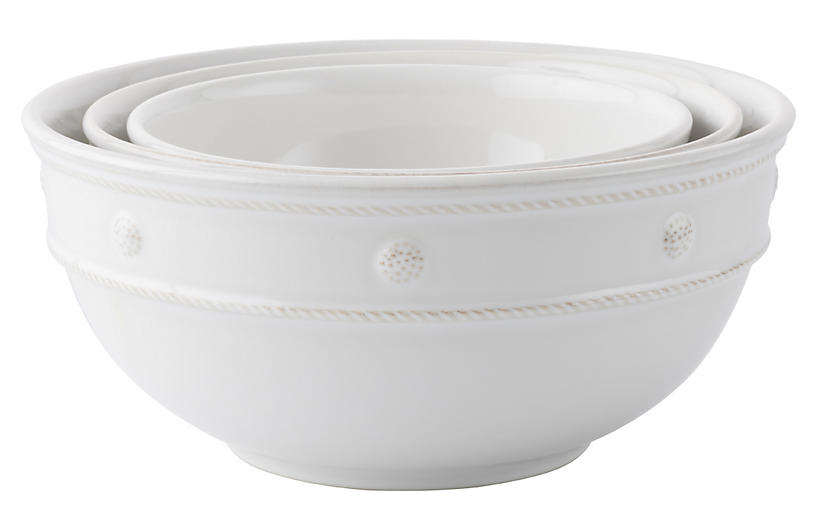 S/3 Nesting Serving Bowls, White