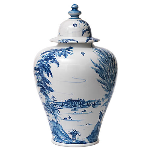 Country Estate Spice Jar, White/Blue