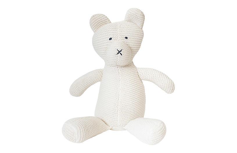 Crochet Bear Stuffed Animal, Soft White