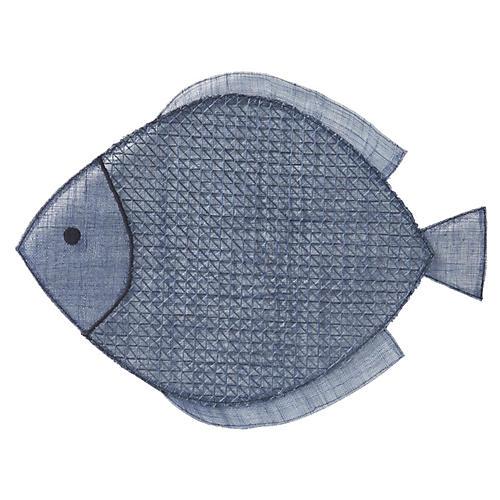 Fish Place Mat, Navy