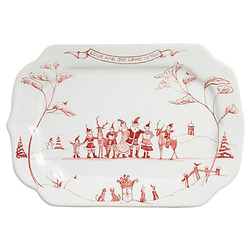 Country Estate Winter Serving Tray, White/Ruby