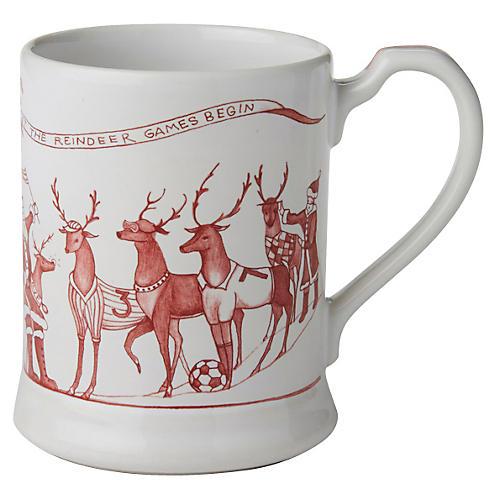 Reindeer Games Coffee Cup, White/Ruby