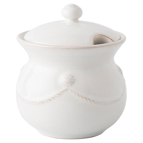 Berry & Thread Sugar Pot, White