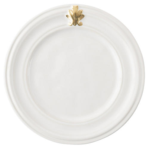 Acanthus Cocktail Plate, White/Gold