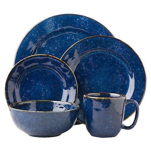 Asst. of 5 Le Panier Place Setting, Blue/White