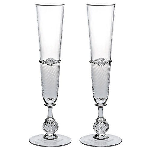 S/2 Graham Champagne Flutes, Clear