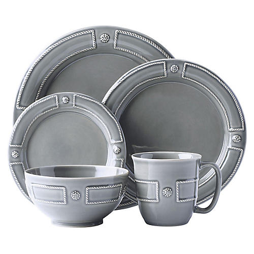 Asst. of 5 Berry & Thread Place Setting, Gray