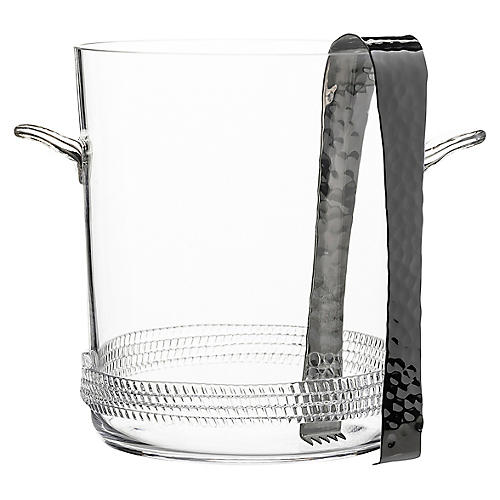 2-Pc Dean Ice Bucket, Clear/Silver