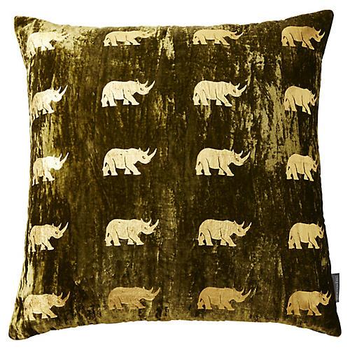 Arusha 22x22 Pillow, Green/Gold