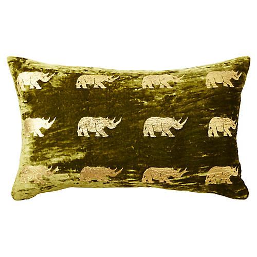 Arusha 12x20 Lumbar Pillow, Green/Gold