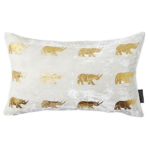 Arusha 12x20 Lumbar Pillow, Ivory/Gold