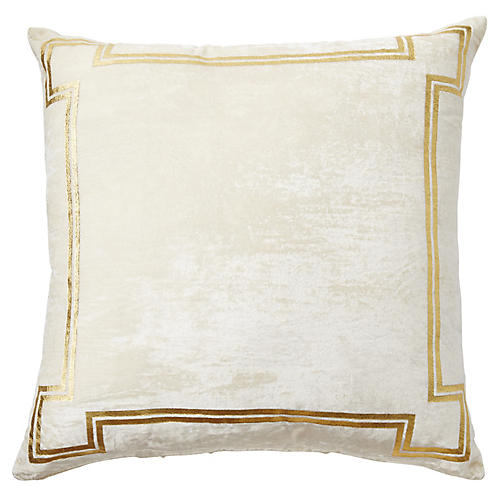 Aria 24x24 Pillow, Ivory/Gold