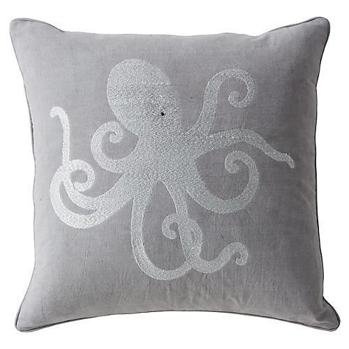 Cornwall 20x20 Pillow, Silver/Gray Linen